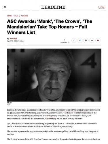 ASC Awards: 'Mank', 'The Crown', 'The Mandalorian' Take Top Honors – Full Winners List