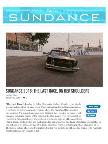 SUNDANCE 2018: THE LAST RACE, ON HER SHOULDERS