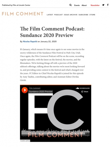 The Film Comment Podcast: Sundance 2020 Preview