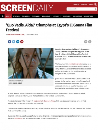 'Quo Vadis, Aida?' triumphs at Egypt's El Gouna Film Festival