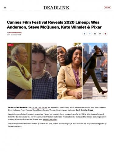Cannes Film Festival Reveals 2020 Lineup