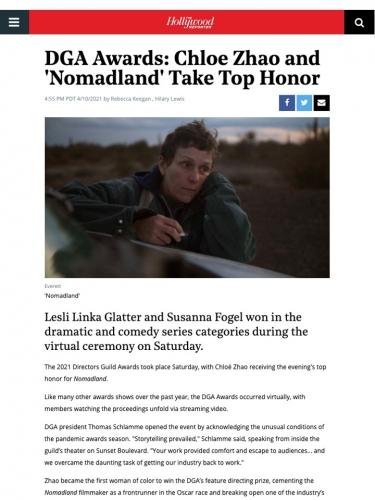 DGA Awards: Chloe Zhao and 'Nomadland' Take Top Honor