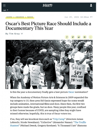 Oscar's Best Picture Race Should Include a Documentary This Year