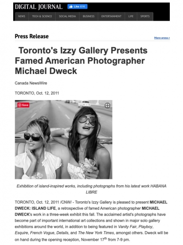 Toronto's Izzy Gallery Presents Famed American Photographer Michael Dweck