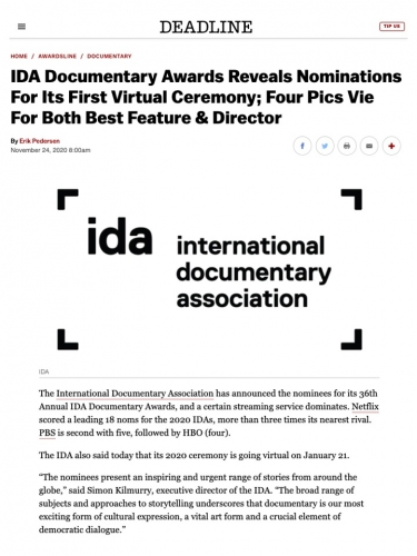 IDA Documentary Awards Reveals Nominations For Its First Virtual Ceremony