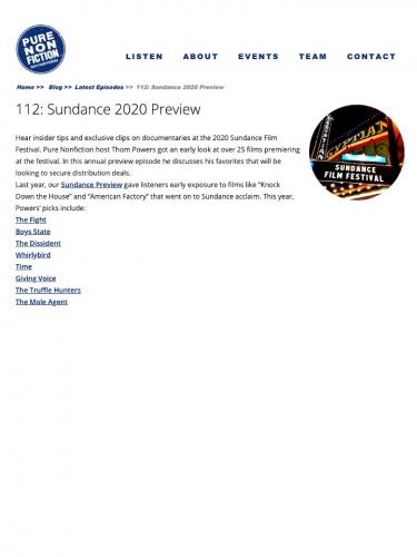 112: Sundance 2020 Preview
