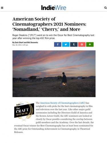 American Society of Cinematographers 2021 Nominees: 'Nomadland,' 'Cherry,' and More