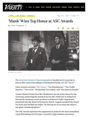 'Mank' Wins Top Honor at ASC Awards