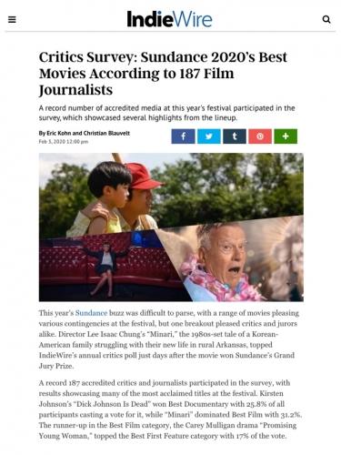 Critics Survey: Sundance 2020's Best Movies According to 187 Film Journalists