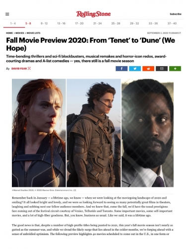 Fall Movie Preview 2020: From 'Tenet' to 'Dune' (We Hope)
