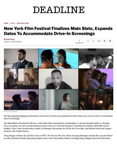 New York Film Festival Finalizes Main Slate