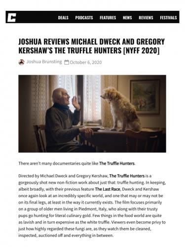 Joshua Reviews Michael Dweck and Gregory Kershaw's The Truffle Hunters [NYFF 2020]