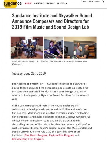 2019 Film Music and Sound Design Lab