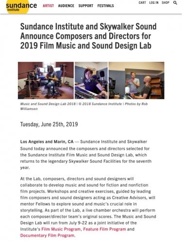 2019 Film Music and Sound Design Lab