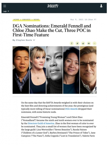 DGA Nominations: Emerald Fennell and Chloe Zhao Make the Cut, Three POC in First-Time Feature