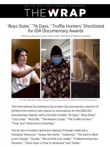 'Boys State,' '76 Days,' 'Truffle Hunters' Shortlisted for IDA Documentary Awards
