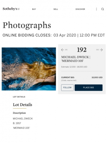 "Michael Dweck ""Mermaid 105"" in Sotheby's Photographs April 2020 Auction"