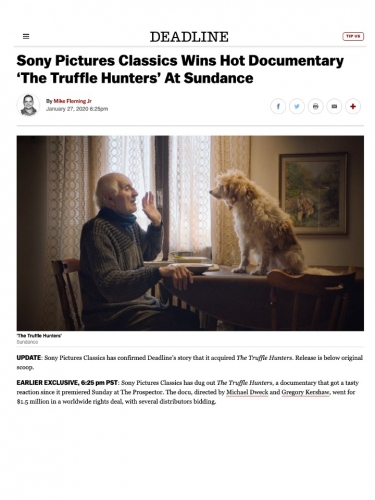 Sony Pictures Classics Wins Hot Documentary 'The Truffle Hunters' At Sundance