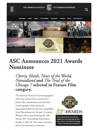 ASC Announces 2021 Awards Nominees