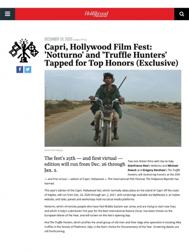 Capri, Hollywood Film Fest: 'Notturno' and 'Truffle Hunters' Tapped for Top Honors