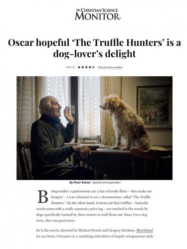 Oscar hopeful 'The Truffle Hunters' is a dog-lover's delight