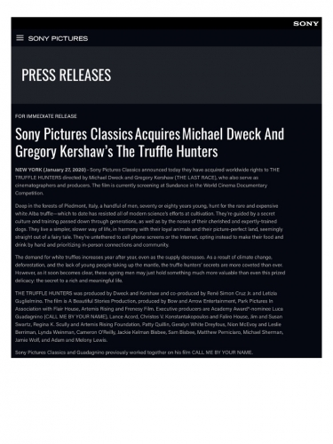 Sony Pictures ClassicsAcquiresMichael Dweck And Gregory Kershaw's The Truffle Hunters