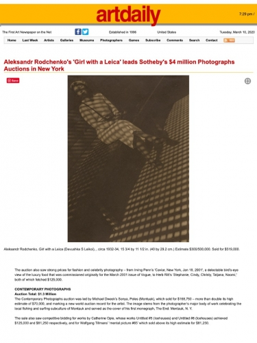 Contemporary Photographs, Sotheby's Auction Results