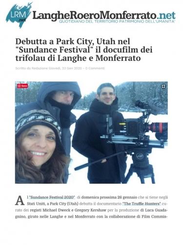 """Debutta a Park City, Utah nel """"Sundance Festival"""" il docufilm dei trifolau di Langhe e Monferrato"""