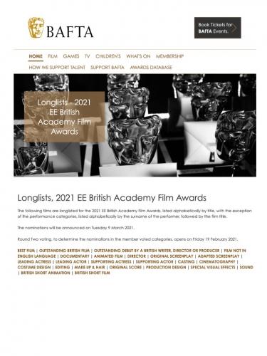 Longlists, 2021 EE British Academy Film Awards