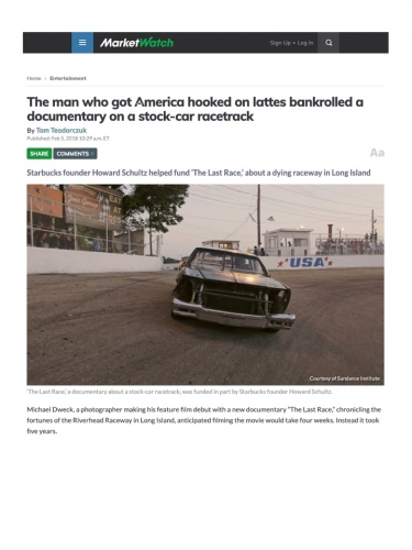 The man who got America hooked on lattes bankrolled a documentary on a stock-car racetrack
