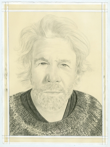 Portrait of John Zurier, pencil on paper by Phong Bui