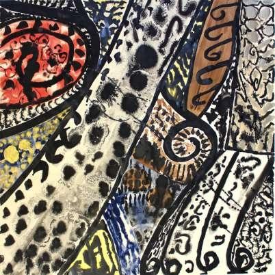 Sonja Sekula, Ethnique, 1961, gouache on paper, 20 1/8 x 20 1/8 inches (51.0 x 51.0 cm)
