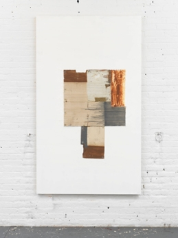Erik Lindman, Untitled, 2016, found surfaces (wood, paint) oil and acrylic on panel, 78 x 46 inches (198.1 x 116.8 cm)