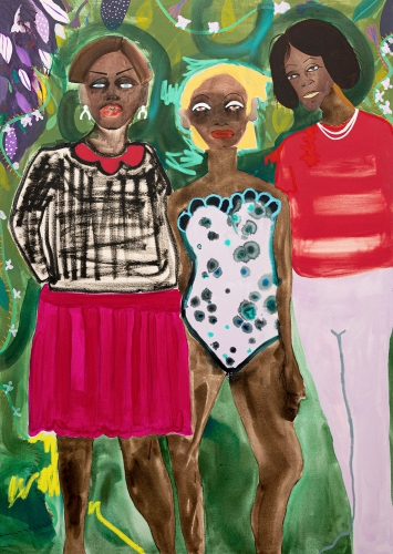 """This is an image of an artwork by February James titled """"Corner Store Shakedown"""" from her exhibition at Wilding Cran."""