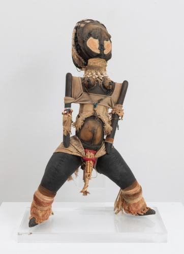 """John Outterbridge, """"Tribal Piece, Ethnic Heritage Series"""", c. 1978-1982, mixed media, 30-1/2 x 16 x 9 inches"""