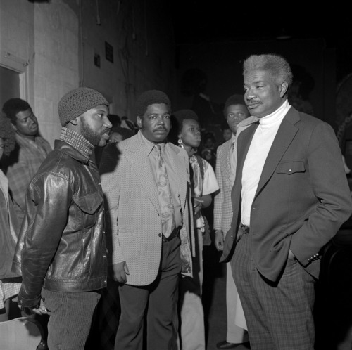 This is an image of John Outterbridge (left) and Ossie Davis (right) at the C.A.A. Credit. Image courtesy of Willie Ford Jr. and the Compton Communicative Arts Academy Collection, Special Collections and Archives, John F. Kennedy Memorial Library, California State University, Los Angele