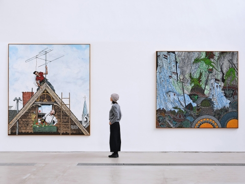 Double Warrior, 2020 (left) and Rockwell, 2020 (right) on view at Faurschou Beijing.