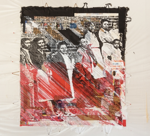 """Tomashi Jackson, """"Is Anybody Gonna Be Saved"""" (Red and Black), 2020, Pentelic marble dust on election ephemera, acrylic, paper bags, cotton fabric, canvas, 84 x 73 inches"""