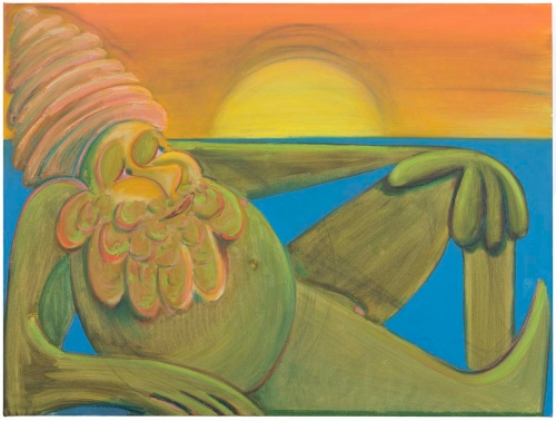 """Antone Könst, """"Sunbather"""", 2020, Oil on canvas, 30 by 40 inches"""