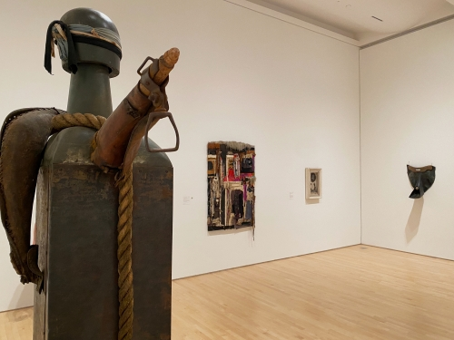 This is an installation view of an exhibition at SF MoMA including works by John Outterbridge and Noah Purifoy.