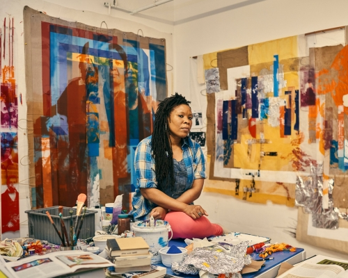 Tomashi Jackson in her studio. Image courtesy of The New York Times. Photo: Christopher Gregory