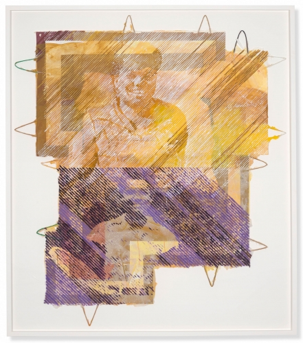"""This is an image of an artwork by Tomashi Jackson titled """"The Makings of You (Ruth in Gold / Pauli in Violet) made in 2021 and included in her exhibition """"Brown II"""" at Harvard Radcliffe Institute."""