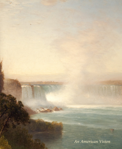 Cover of a catalogue titled An American Vision II. Cover illustration is a view of Niagara Falls by Samuel Colman.