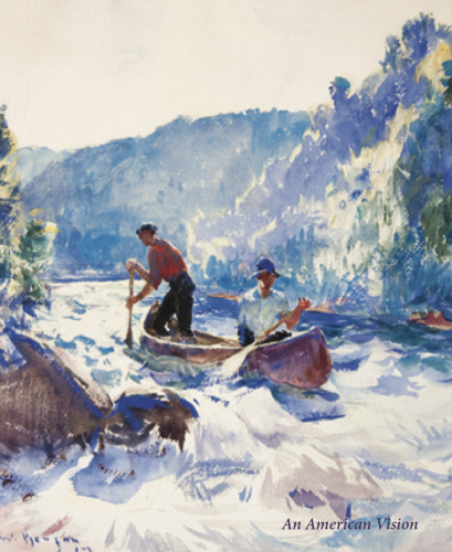 Cover of a catalogue titled An American Vision III. Cover illustration is a watercolor of two men in a canoe by Frank Benson.