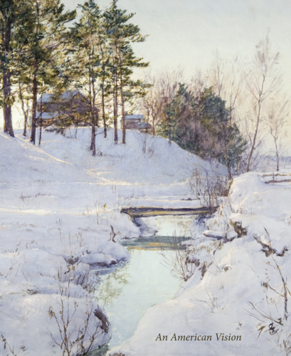 Cover of a catalogue titled An American Vision I. Cover illustration is a watercolor of a snow scene by Walter Launt Palmer.