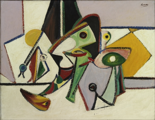 Organization No. 2 in pink, yellow, green, and white, 1936–37, by Arshile Gorky. Private collection.