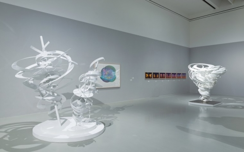 Installation view of white powder aluminum sculptures and drawings by Alice Aycock