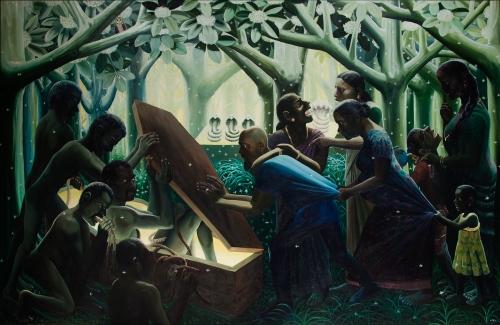 RATHEESH T.   Divine Death, 2014   Oil on canvas  79 x 121 in / 200 x 308 cm
