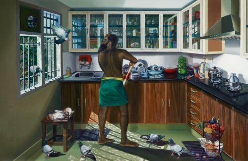 Ratheesh T., realism, oil on canvas, environmental art, Kerala, Trivandrum, Malayali, communism, rice flour, coconut