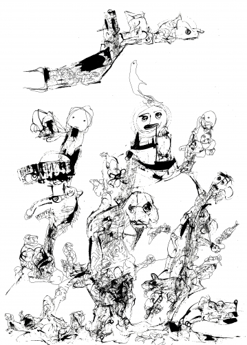 PR Satheesh, gestural abstraction, Jackson Pollock, abstract expressionism, pen and ink drawings, Indian ink on paper